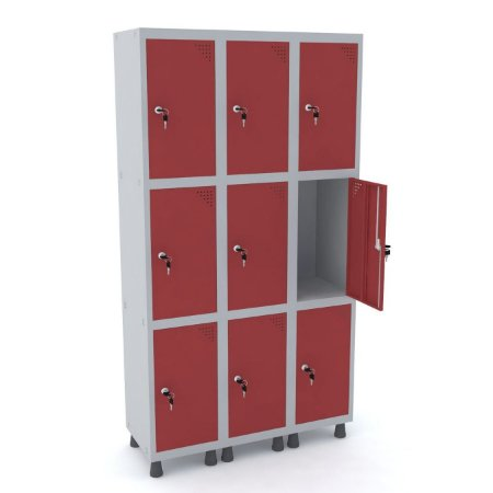 Roupeiro de Aco 3 Vaos 9 Portas com Fechadura Pandin Cinza e Vermelho  1,90 M