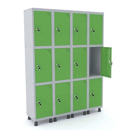 Roupeiro de Aco 4 Vaos 12 Portas com Fechadura Pandin Cinza e Verde Miro  1,90 M