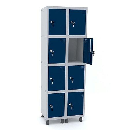 Roupeiro de Aco 2 Vaos 8 Portas com Fechadura Pandin Cinza e Azul Del Rey  1,90 M