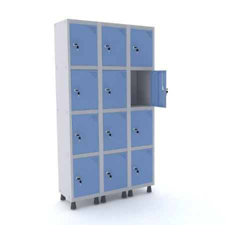 Roupeiro de Aco 3 Vaos 12 Portas com Fechadura Pandin Cinza e Azul Dali  1,90 M