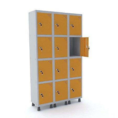 Roupeiro de Aco 3 Vaos 12 Portas com Fechadura Pandin Cinza e Laranja Picasso  1,90 M