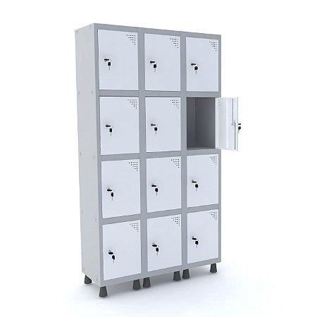 Roupeiro de Aco 3 Vaos 12 Portas com Fechadura Pandin Cinza e Branco  1,90 M