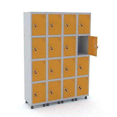 Roupeiro de Aco 4 Vaos 16 Portas com Fechadura Pandin Cinza e Laranja Picasso  1,90 M