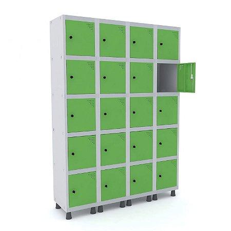 Roupeiro de Aco 4 Vaos 20 Portas com Pitao Pandin Cinza e Verde Miro  1,90 M