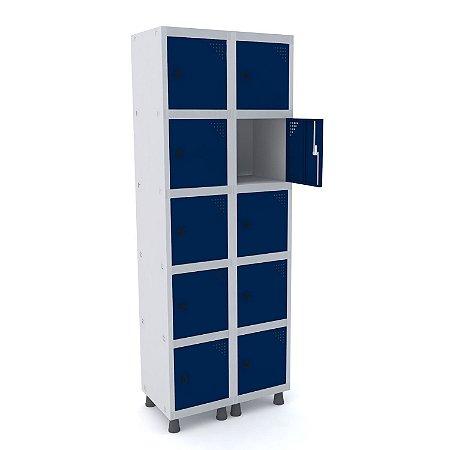 Roupeiro de Aco 2 Vaos 10 Portas com Pitao Pandin Cinza e Azul Del Rey  1,90 M