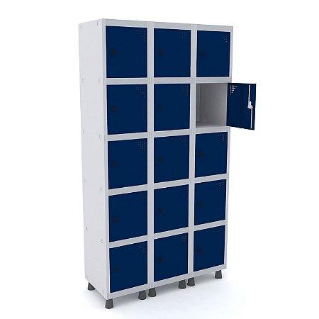 Roupeiro de Aco 3 Vaos 15 Portas com Pitao Pandin Cinza e Azul Del Rey  1,90 M