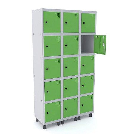 Roupeiro de Aco 3 Vaos 15 Portas com Pitao Pandin Cinza e Verde Miro  1,90 M