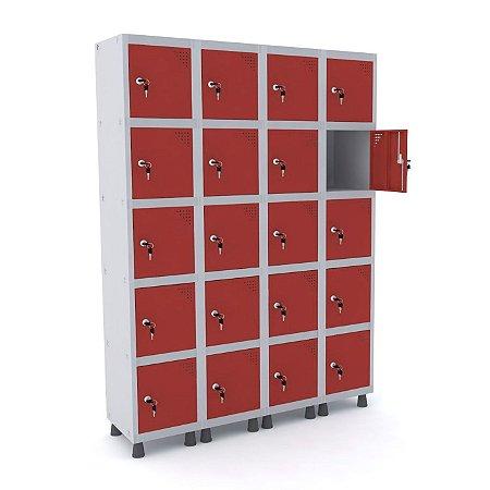 Roupeiro de Aco 4 Vaos 20 Portas com Fechadura Pandin Cinza e Vermelho  1,90 M