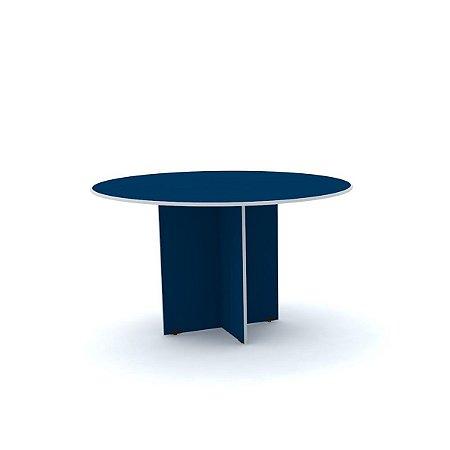 Mesa para Escritorio de Reuniao Redonda Maxxi Pandin Azul e Cinza  1,10 M