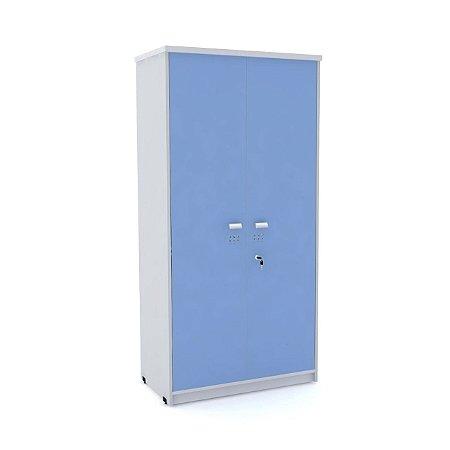 Armario Alto 02 Portas de Aco Arena Pandin Cinza e Azul Dali  1,60 M
