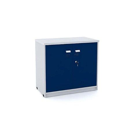 Armario Baixo 02 Portas de Aco Arena Pandin Cinza e Azul Del Rey 73 Cm
