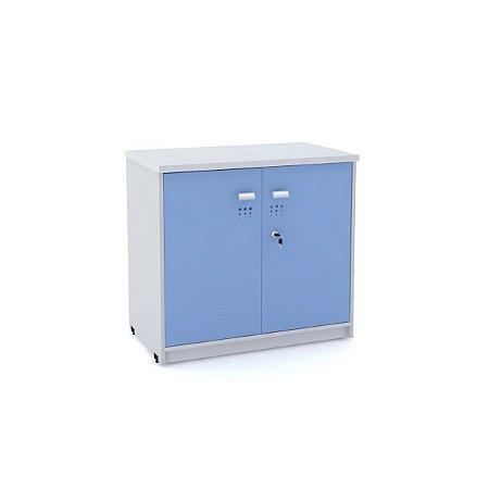Armario Baixo 02 Portas de Aco Arena Pandin Cinza e Azul Dali 73 Cm