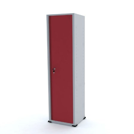 Armario de Aco 01 Porta Pandin Cinza e Vermelho  1,70 M