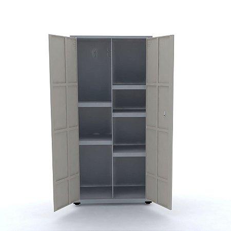 Armario de Aco Multiuso 02 Portas Pandin Cinza e Bege Areia  1,60 M