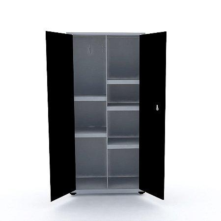 Armario de Aco Multiuso 02 Portas Pandin Cinza e Preto  1,60 M