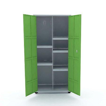 Armario de Aco Multiuso 02 Portas Pandin Cinza e Verde Miro  1,60 M