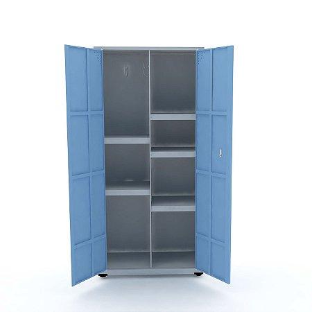 Armario de Aco Multiuso 02 Portas Pandin Cinza e Azul Dali  1,60 M
