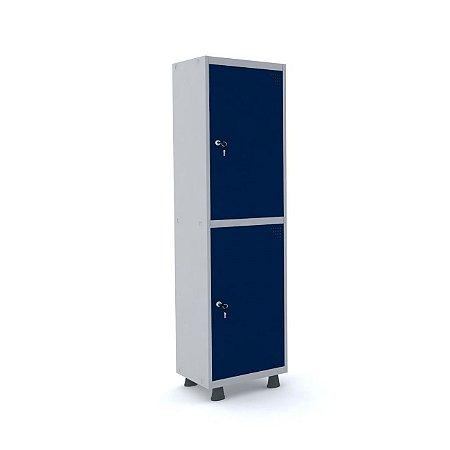Roupeiro de Aco Insalubre 1 Vao 2 Portas com Fechadura Pandin Cinza e Azul Del Rey  1,90 M