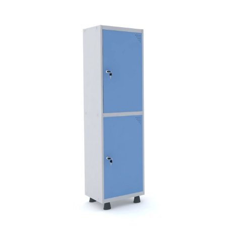 Roupeiro de Aco Insalubre 1 Vao 2 Portas com Fechadura Pandin Cinza e Azul Dali  1,90 M