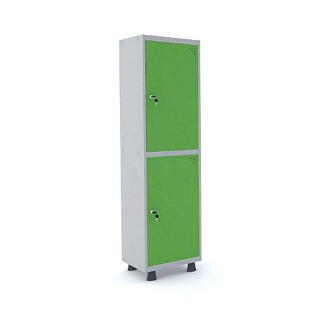 Roupeiro de Aco Insalubre 1 Vao 2 Portas com Fechadura Pandin Cinza e Verde Miro  1,90 M
