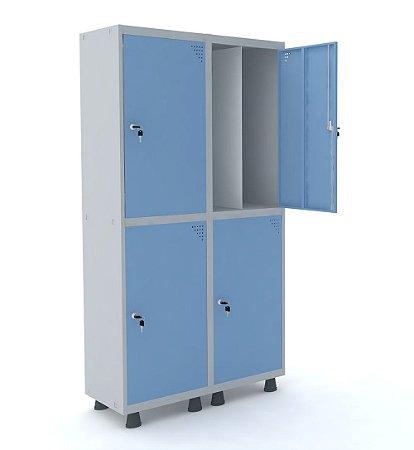 Roupeiro de Aco Insalubre 2 Vaos 4 Portas com Fechadura Pandin Cinza e Azul Dali  1,90 M