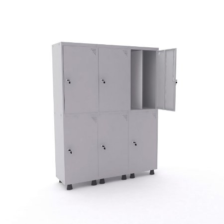 Roupeiro de Aco Insalubre 3 Vaos 6 Portas com Fechadura Pandin Cinza Cristal  1,90 M