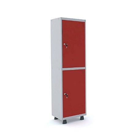 Roupeiro de Aco Insalubre 1 Vao 2 Portas com Fechadura Pandin Cinza e Vermelho  1,90 M