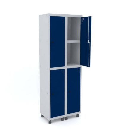 Roupeiro de Aco 2 Vaos 4 Portas com Prateleira Interna Pandin Cinza e Azul Del Rey  1,90 M