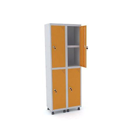Roupeiro de Aco 2 Vaos 4 Portas com Prateleira Interna Pandin Cinza e Laranja Picasso  1,90 M