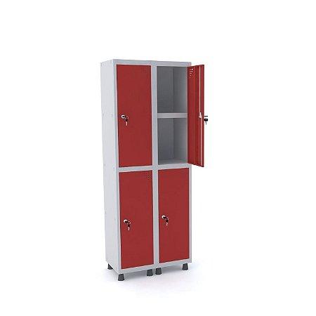 Roupeiro de Aco 2 Vaos 4 Portas com Prateleira Interna Pandin Cinza e Vermelho  1,90 M
