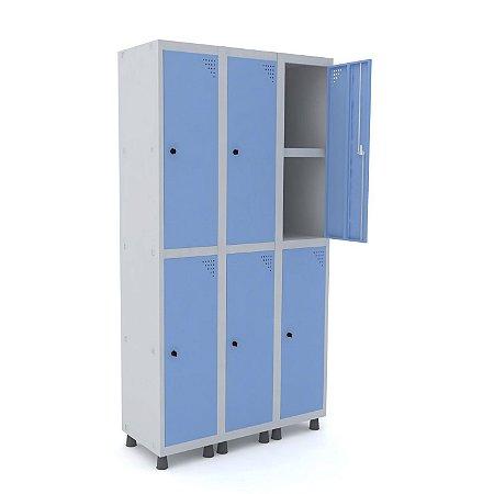 Roupeiro de Aco 3 Vaos 6 Portas com Prateleira Interna Pandin Cinza e Azul Dali  1,90 M