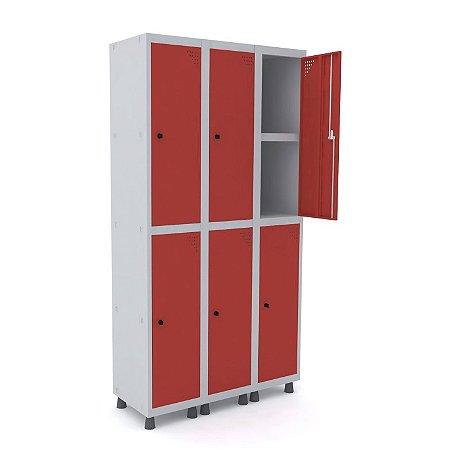 Roupeiro de Aco 3 Vaos 6 Portas com Prateleira Interna Pandin Cinza e Vermelho  1,90 M