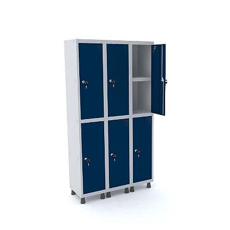 Roupeiro de Aco 3 Vaos 6 Portas com Prateleira Interna Pandin Cinza e Azul Del Rey  1,90 M