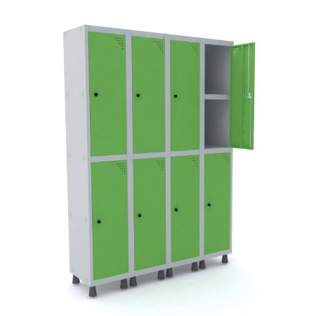 Roupeiro de Aco 4 Vaos 8 Portas com Prateleira Interna Pandin Cinza e Verde Miro  1,90 M