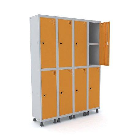Roupeiro de Aco 4 Vaos 8 Portas com Prateleira Interna Pandin Cinza e Laranja Picasso  1,90 M