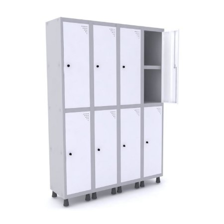 Roupeiro de Aco 4 Vaos 8 Portas com Prateleira Interna Pandin Cinza e Branco  1,90 M