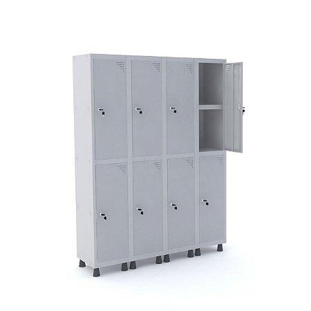 Roupeiro de Aco 4 Vaos 8 Portas com Prateleira Interna Pandin Cinza Cristal  1,90 M