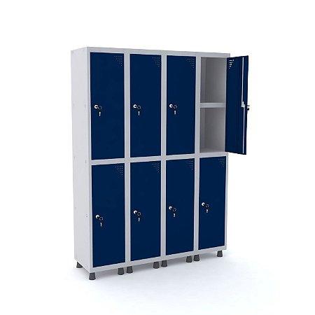 Roupeiro de Aco 4 Vaos 8 Portas com Prateleira Interna Pandin Cinza e Azul Del Rey  1,90 M