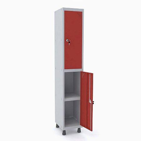 Roupeiro de Aco 1 Vao 2 Portas com Prateleira Interna Pandin Cinza e Vermelho  1,90 M