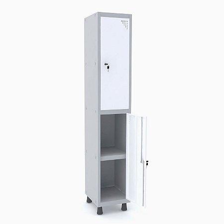 Roupeiro de Aco 1 Vao 2 Portas com Prateleira Interna Pandin Cinza e Branco  1,90 M