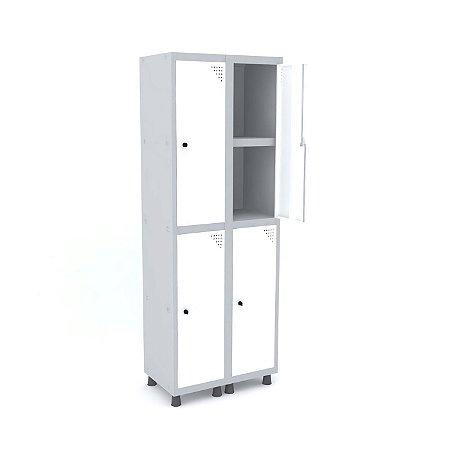 Roupeiro de Aco 2 Vaos 4 Portas com Prateleira Interna Pandin Cinza e Branco  1,90 M