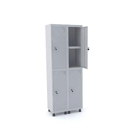 Roupeiro de Aco 2 Vaos 4 Portas com Prateleira Interna Pandin Cinza Cristal  1,90 M