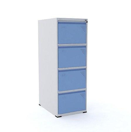 Arquivo de Aco com 4 Gavetas Intermediario Pandin Cinza e Azul Dali  1,35 M
