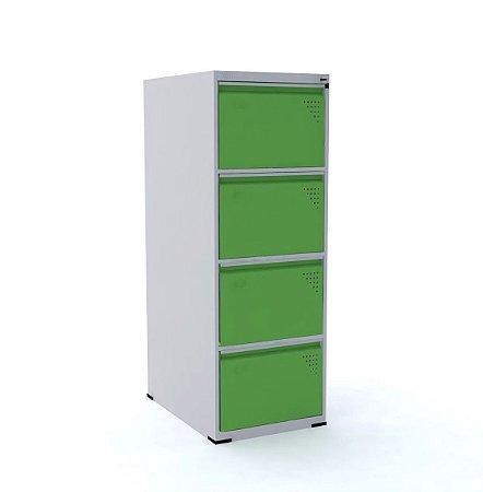 Arquivo de Aco com 4 Gavetas Intermediario Pandin Cinza e Verde Miro  1,35 M