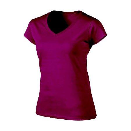 Camiseta Feminina Básica com Lycra - Gola V - Várias Cores