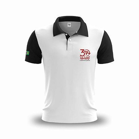 Uniforme - Camisa Polo Personalizada com Bordado - Gola e Manga Preto - P ao GG