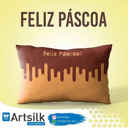 Capa de Almofada Feliz Páscoa Chocolate