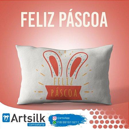 Capa de Almofada Feliz Páscoa Coelho na Cartola