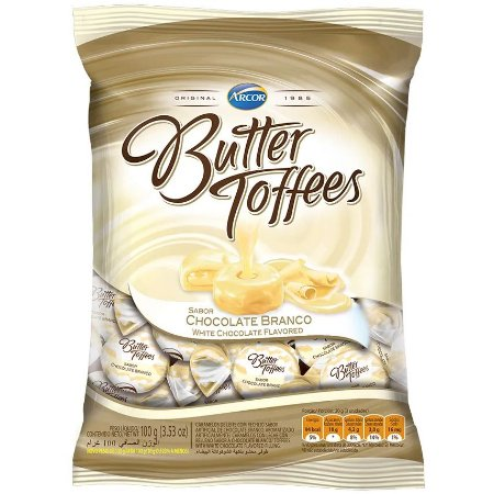 BALA BUTTER TOFFEES 100GR  CHOCOLATE BRANCO