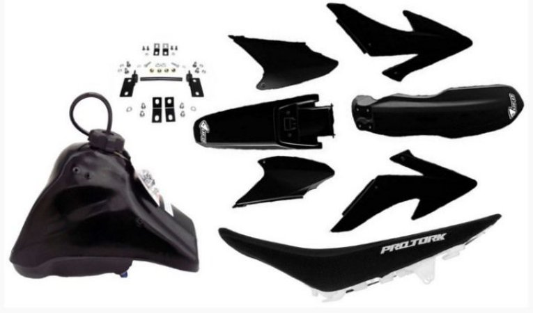 Kit Crf 230 2014 Ufo Preto Adaptável Xr 200 Tornado